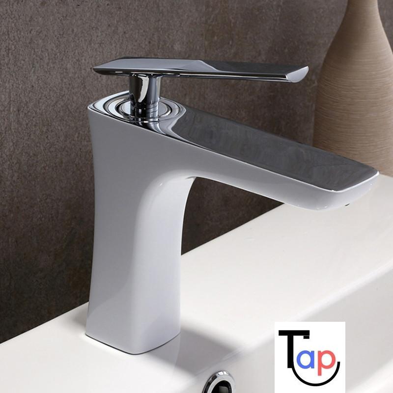 Leane White & Chrome Basin Mixer Tap